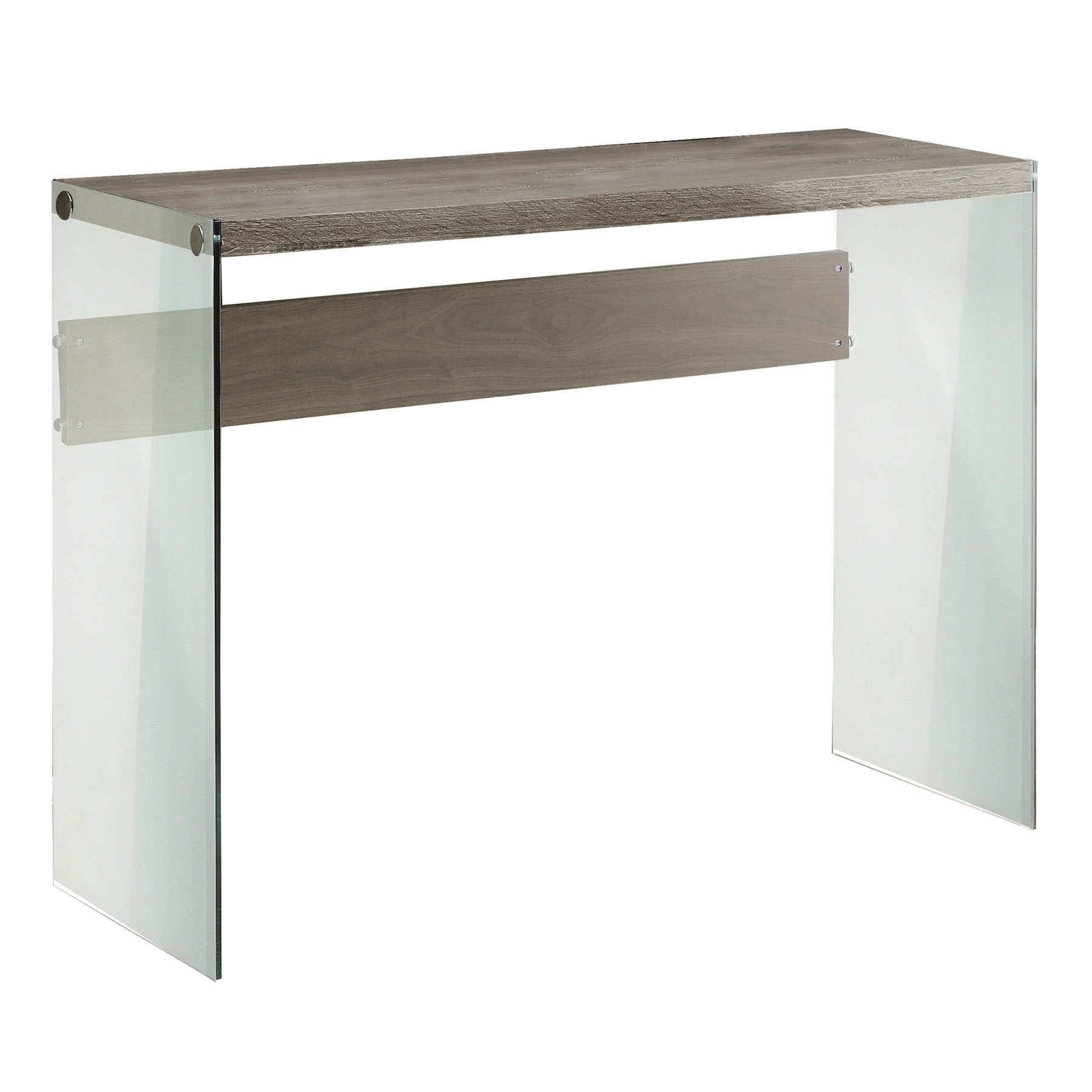 Monarch specialties I 3055, Console Sofa Table, Tempered Glass, Dark Taupe, 44''L