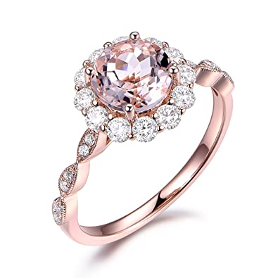 2237f98727af0 Morganite Engagement Ring Flower Moissanite Halo Diamond Antique ...