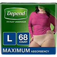 Depend FIT-FLEX Incontinence Underwear for Women, Maximum Absorbency, L, Packaging may vary,17 Count (Pack of 4)