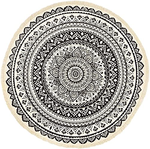 GEVES Black Mandala Rug Round Weave Area Rugs Tassels Door Floral Floor Mat Indoor or Outdoor Use Carpet