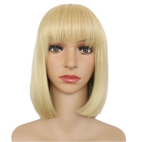 Eseewigs mujeres hermosas peluca de pelo corto y recto Miel rubia Cosplay peluca traje partido pelo