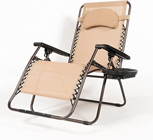 BELLEZE Extra Large Oversized Zero Gravity Chair Recliner Super Durable Reclining Patio Chair
