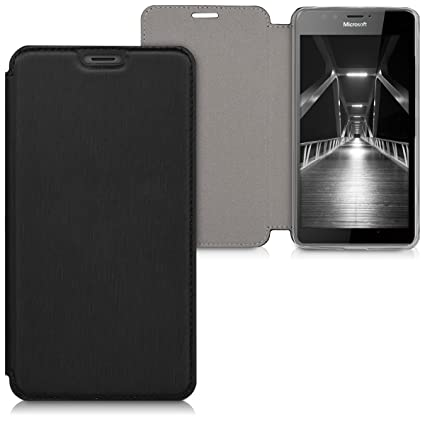 new product 13a8b ecc9e kwmobile Case for Microsoft Lumia 950 - Book Style Flip Folio Slim Wallet  Cover with Stand Feature - Black