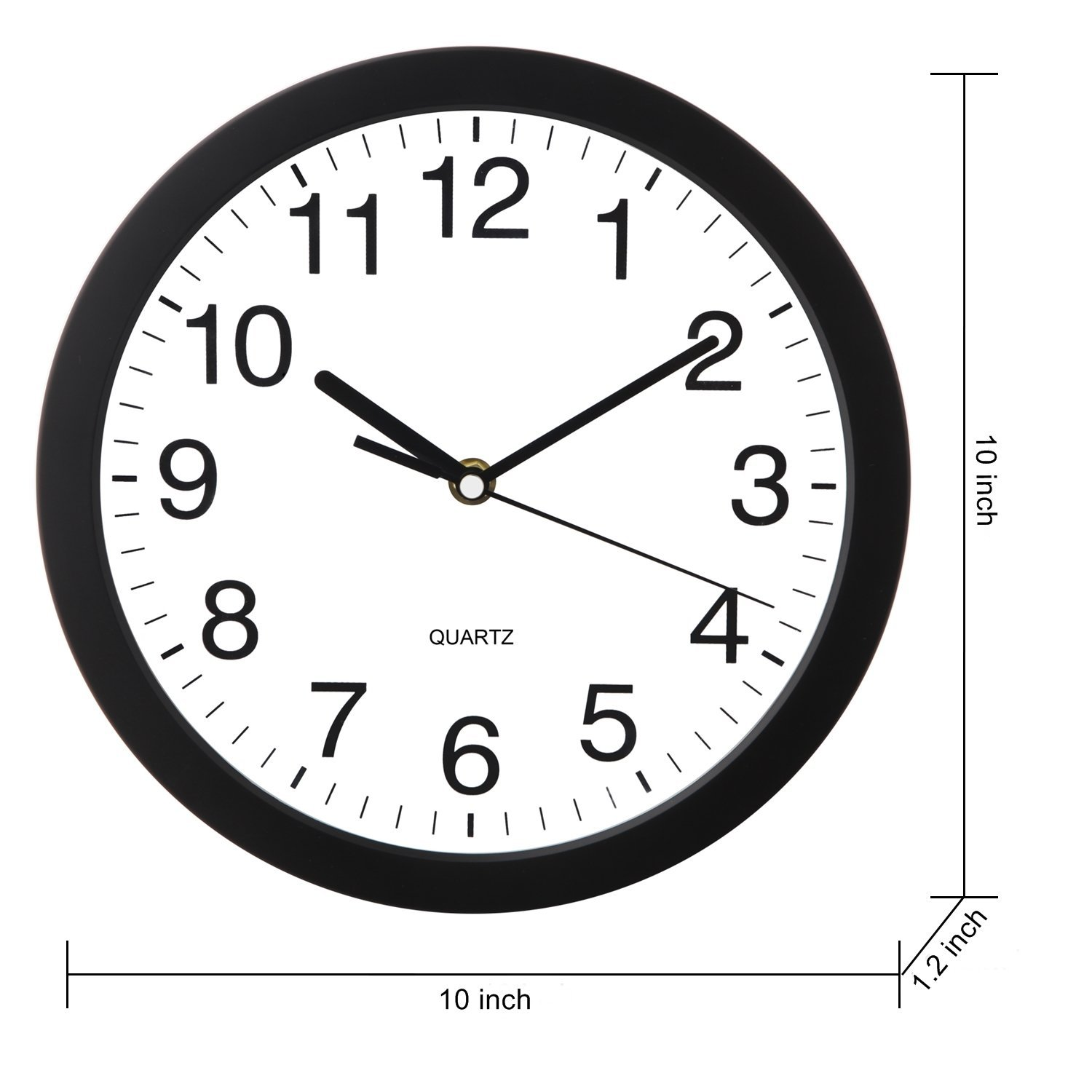 HeQiao Quartz Wall Clock, 10 inch Simple Silent Round Desk Clock Battery Operated Non-Ticking Easy to Read Large Decorative Wall Clocks for Home Kitchen Office School (Matte Black)