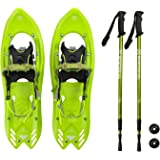 Winterial Yukon Snowshoes 2018/Advanced/Backcountry/Snowshoeing/Men/Green/All Terrain Snow shoes/POLES INCLUDED!