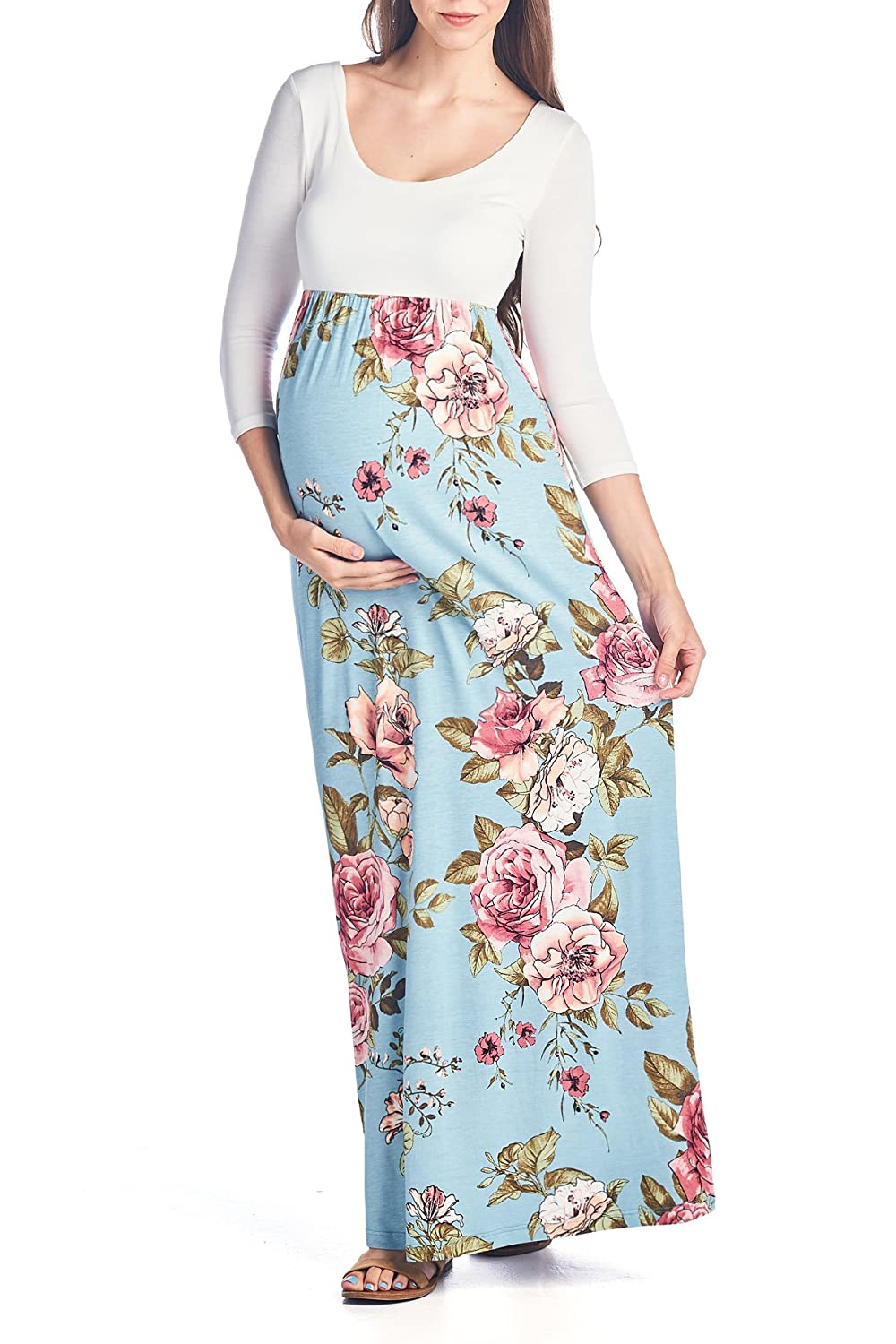 Beachcoco Women's Maternity 3/4 Sleeve Flower Printed Maxi Dress Made in USA