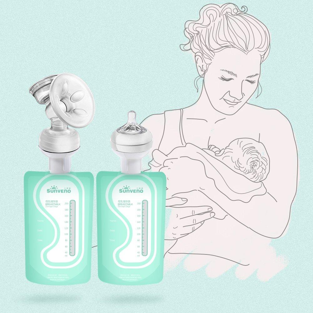 SUNVENO leche materna bolsas de almacenamiento - bolsas esterilizadas y lactancia materna congelador contenedor de almacenamiento paquete de 30 MRD-1