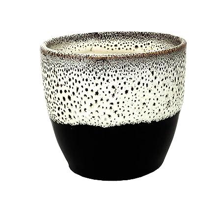 ShopMeFast Glossy Handcrafted Ceramic Pots Ceramic Planter for Indoor Plants/Planters,Home Decor,Garden Decor,Office Decor,Decorative Succulent Pot (Color: White, Black)(L:10 cm, W:10 cm, H:10 cm)