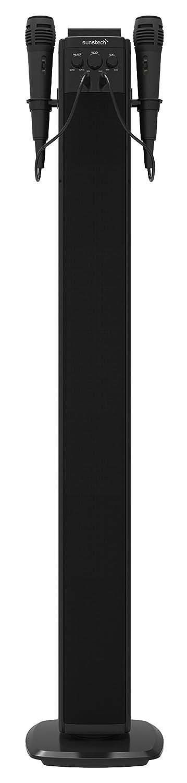 Sunstech STBTK150BK - Torre estéreo (Bluetooth, 2 micrófonos, FM, USB, 40 W RMS) Color Negro