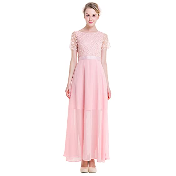Women\'s Pink Pretty Lace Swing Princess Formal Wedding Gowns Evening ...