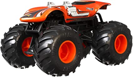 Amazon Com Hot Wheels Monster Trucks Twin Mill Die Cast 1 24 Scale Vehicle With Giant Wheels For Kids Age 3 To 8 Years Old Great Gift Toy Trucks Large Scales Toys Games