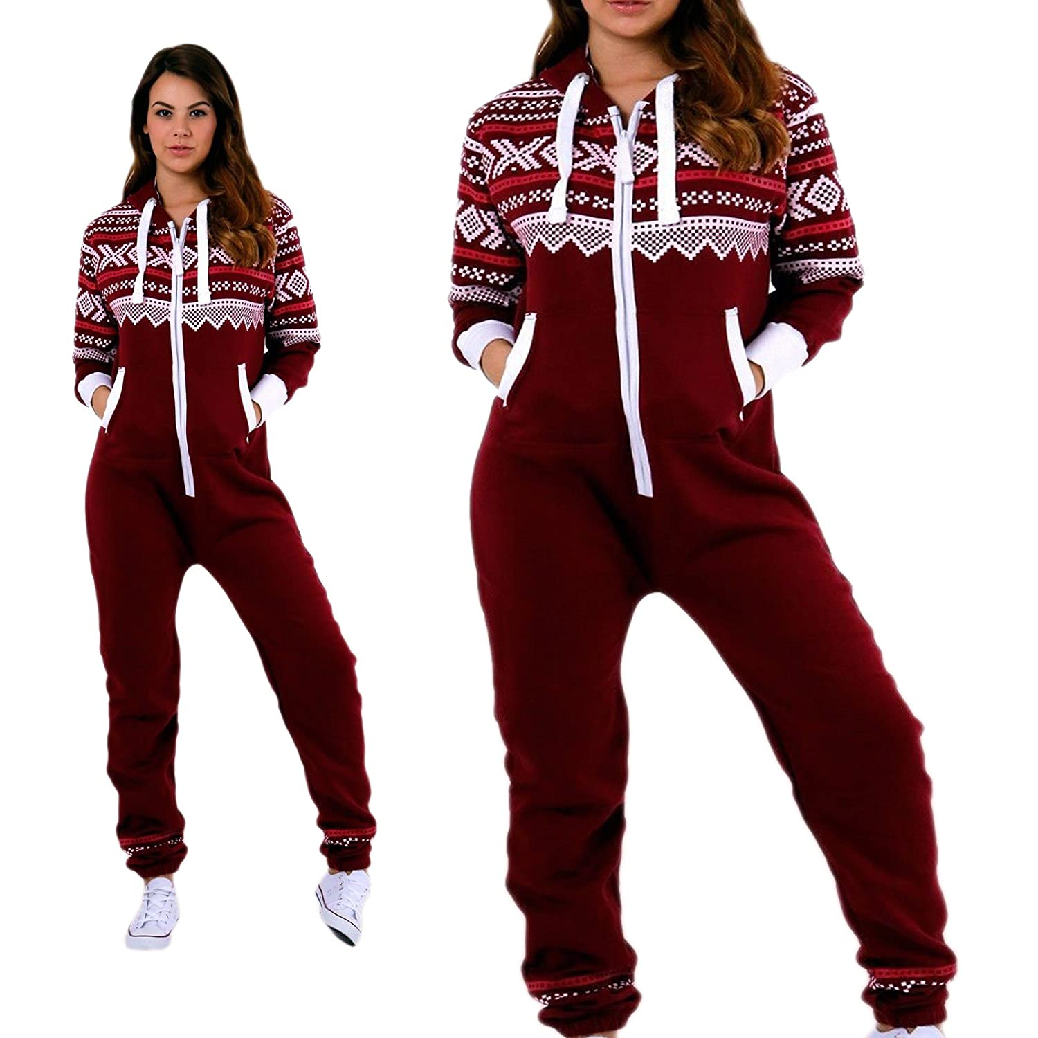 PARSA FASHIONS New Womens Ladies Aztec Print Hooded Zip Up Onesie Jumpsuit Plus Sizes S-XXXXL Sizes UK 8-22