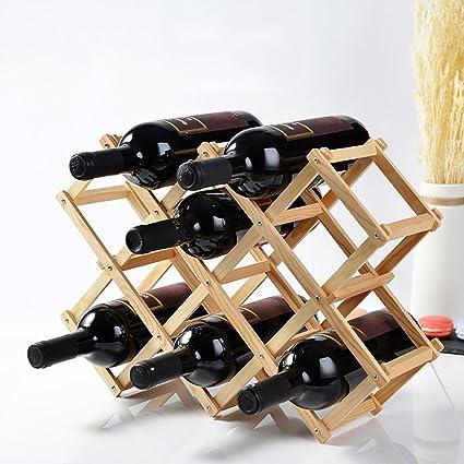 Estantería de vino Estante del vino de madera real vino en el estante del vino estante