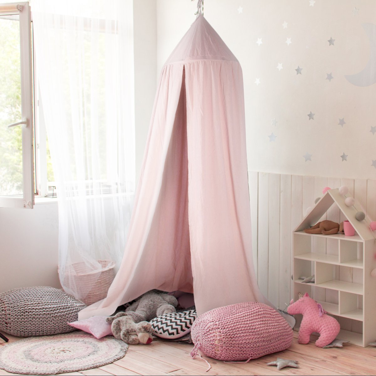 GUSODOR, Bed Canopy Kids Dome Cotton Mosquito Net Play Tent Good for Baby Indoor Outdoor Playing Reading Bedroom Dressing Room Height 240cm (Grey)