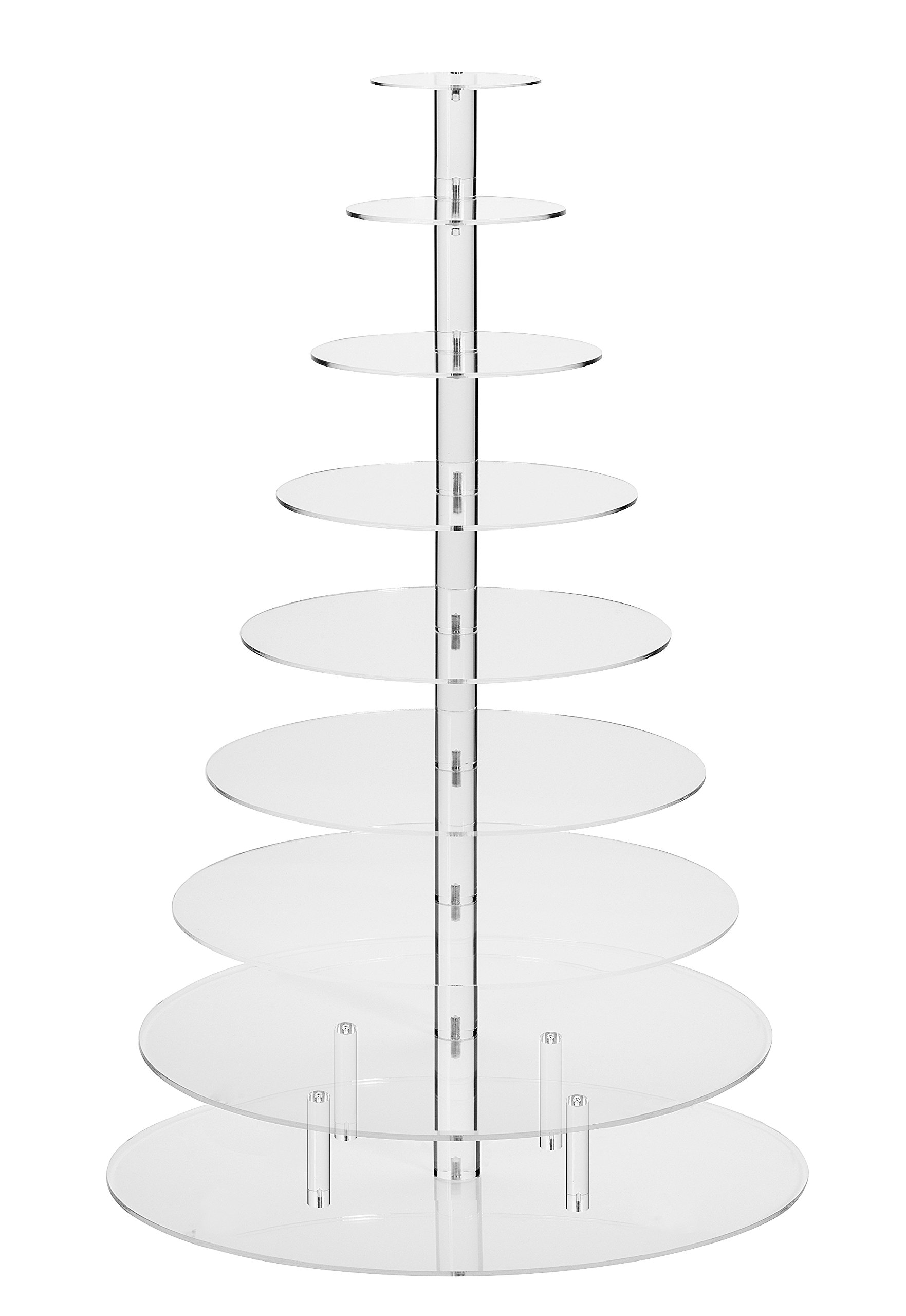 Jusalpha Large 9-Tier Acrylic Glass Round Cake Stand-cupcake Stand- Dessert Stand-tea Party Serving Platter for Wedding Party