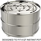 ekovana Stackable Stainless Steel Pressure Cooker Steamer Insert Pans with sling - Large - For 8 quart Instant Pot Accessories
