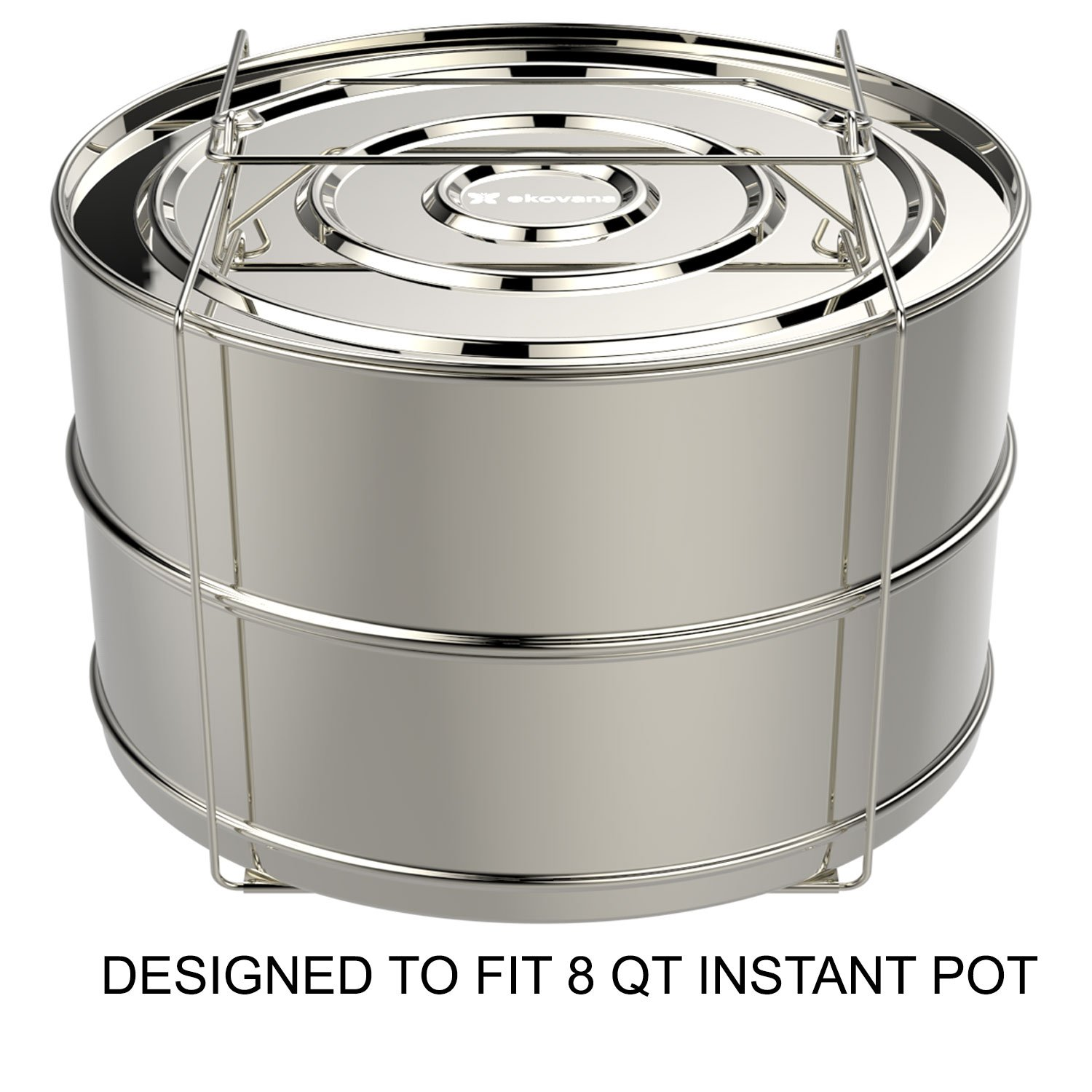 ekovana Stackable Stainless Steel Pressure Cooker Steamer Insert Pans with sling - Large - compatible with 8 qt Instant Pot Accessories by ekovana (Image #1)