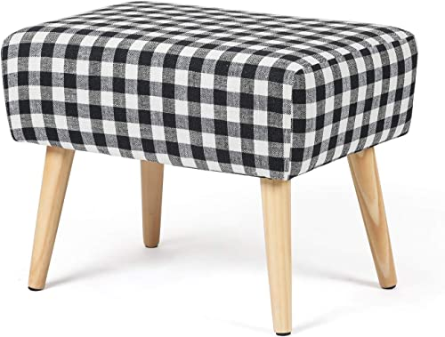 Joveco Ottoman Foot Rest Stool Small Fabric Footstool Black-White Plaid