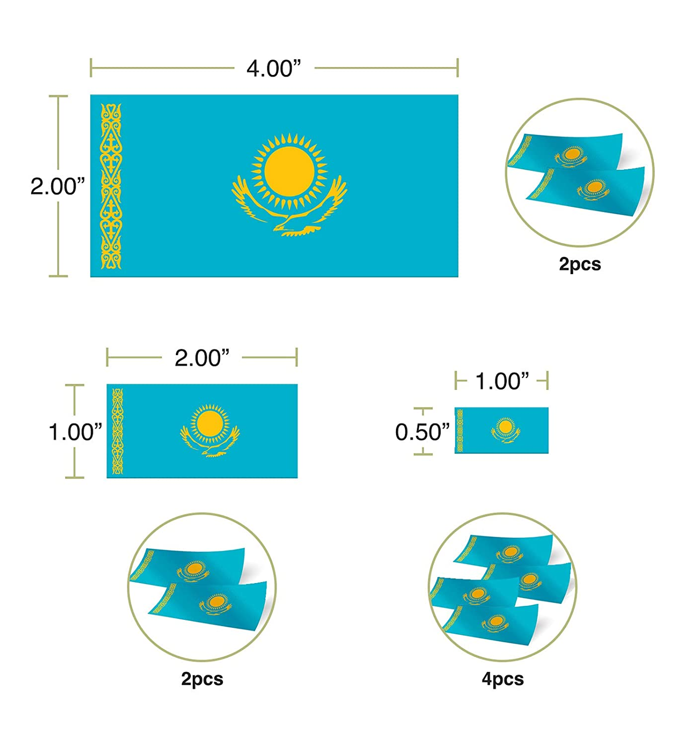 Desert Cactus Kazakhstan Country Flag Sticker Decal Variety Size Pack 8 Total Pieces Kids Logo Scrapbook Car Vinyl Window Bumper Laptop V