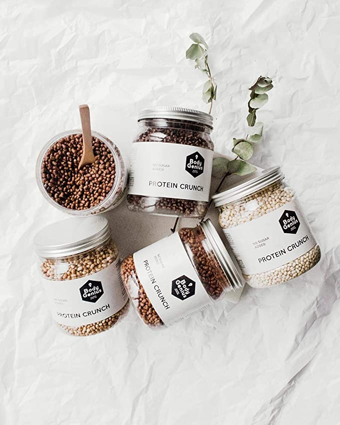 BODY GENIUS Protein Crunch (Chocolate Negro). 500g. Cereales Proteicos. Bolitas de Proteína Recubiertas de Chocolate Sin Azúcar. Bajo en Hidratos. ...
