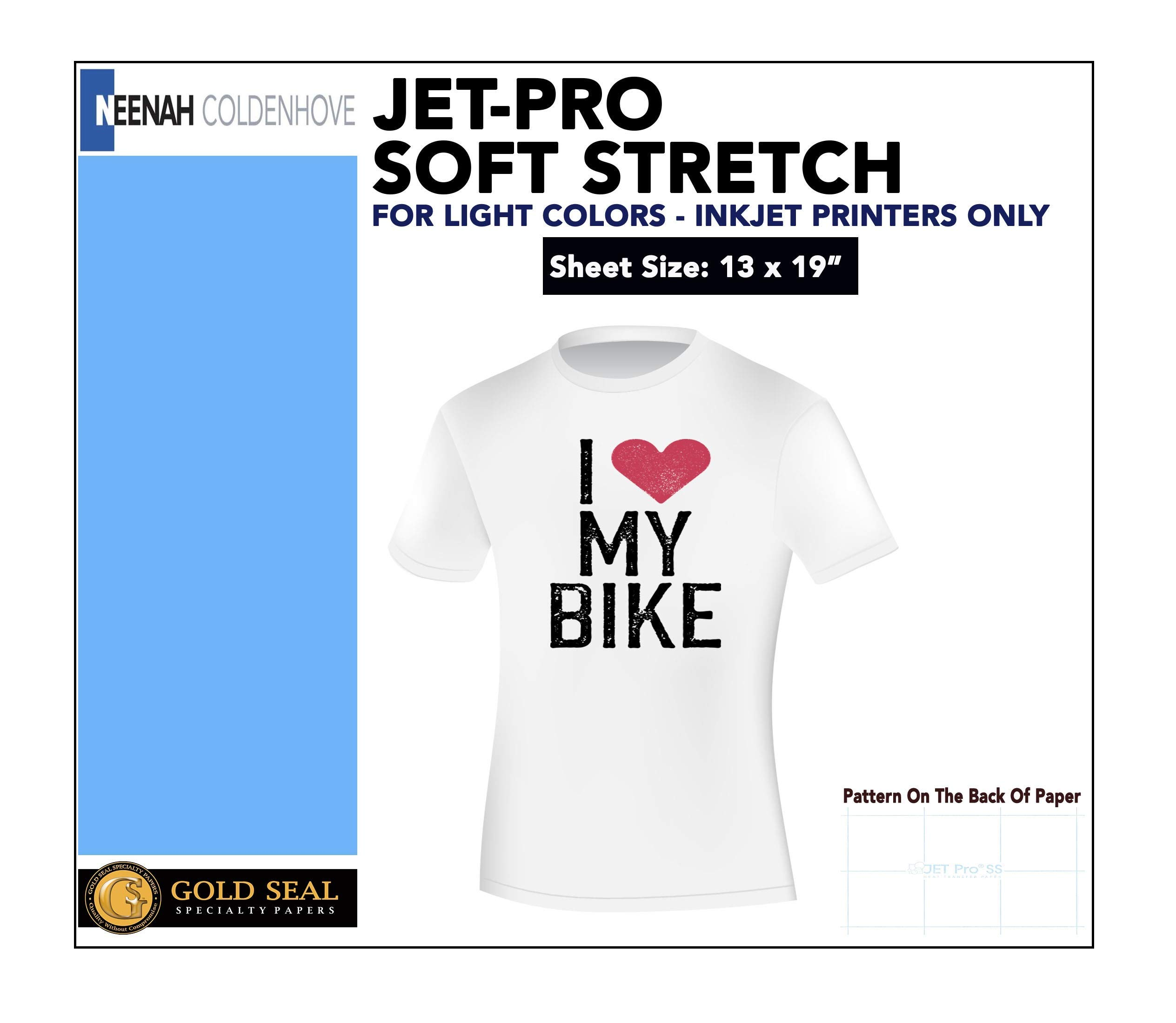 IRON ON HEAT TRANSFER PAPER JET-PRO SS SOFSTRETCH 13 x 19'' CUSTOM PACK 100 SHEETS by Gold Seal Specialty Papers