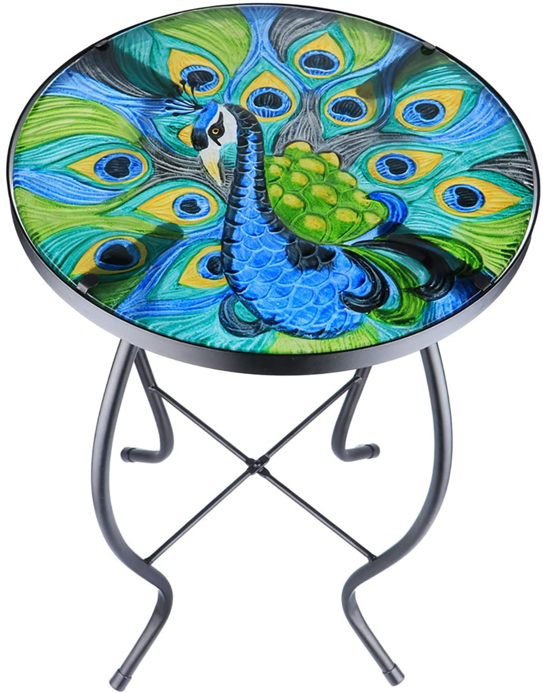 Patio Side Table Plant Stands Outdoor Accent Table Small Mosaic Table Glass Top Round Balcony Coffee Table (14