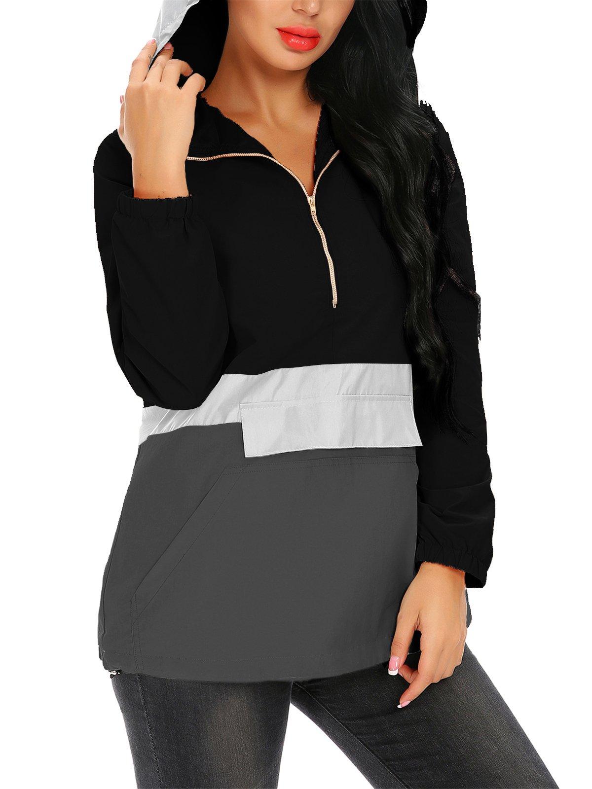 FISOUL Women Lightweight Sport Hoodie Raincoat with Pocket Active Outdoor Hooded Windbreaker Jacket Black XL