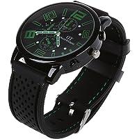 Reloj de pulsera - GT Reloj de pulsera de acero inoxidable de silicona ocasional para hombres de color verde