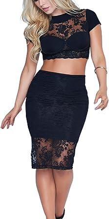 mapalé conjunto top/falda mi-longue negros con encaje talla S ...