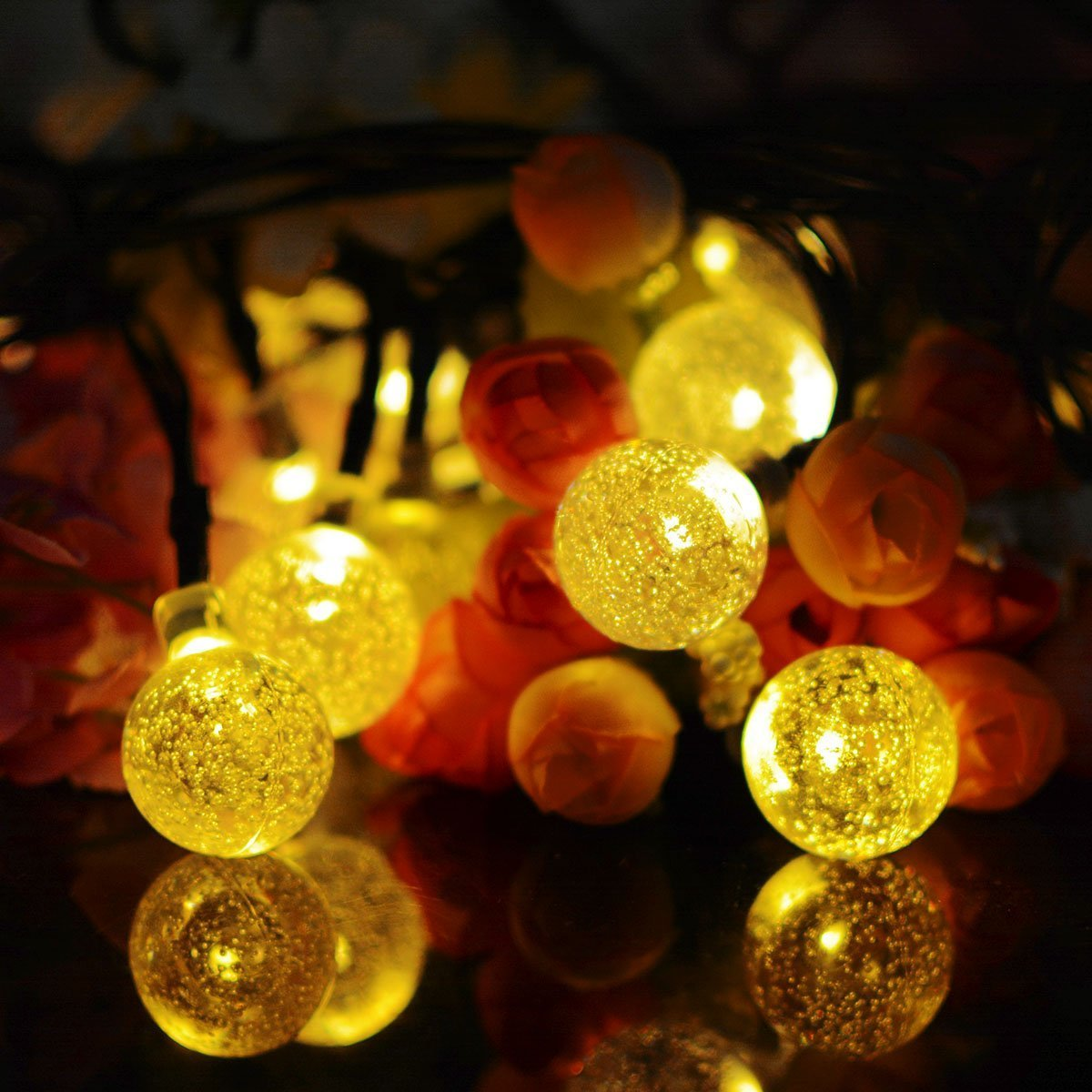 Solar String Lights Outdoor 50 LED, 7M/23Ft Fairy Ball Lights, 8 Modes Waterproof Solar Powered Globe Lights, Garden Lighting for Home, Yard, Party, Festival, Christmas, Decoration (Warm White)