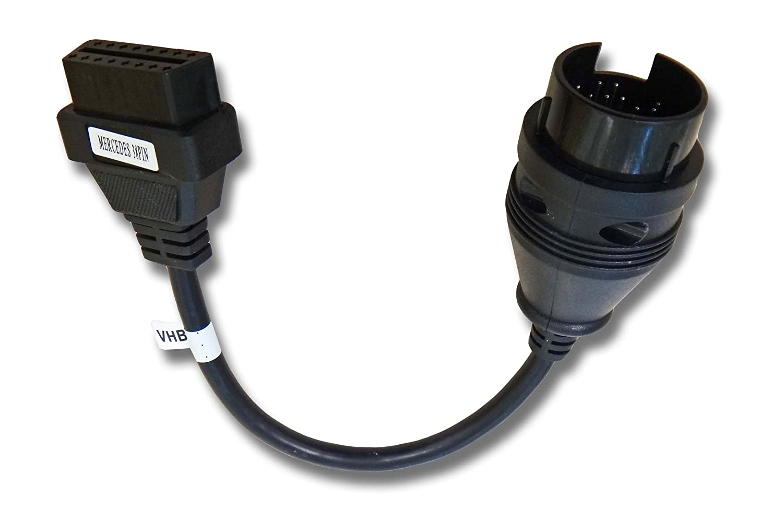 Câble Adaptateur ODB2 vhbw pour Appareil de Diagnostic ODB, adpaté pour Tous Les modèles Mercedes Benz -Prise Ronde 38 Pin adpaté pour Tous Les modèles Mercedes Benz -Prise Ronde 38 Pin