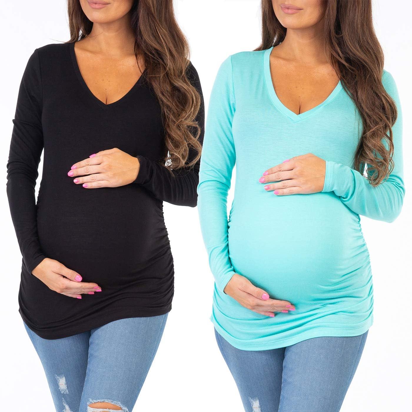 Ecavus Pack 3pcs Womens Maternity Tunic Tops Long Sleeve Flattering Side Ruched Pregnancy Shirt