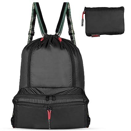 06612eb8b576 Gym Drawstring Backpack Sackpack - Packable Waterproof String Bag for Men,  Women, Kids(Black)