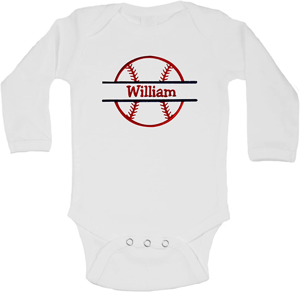 Personalized Embroidered Baby Boys Baseball Onesie with Your Custom Name