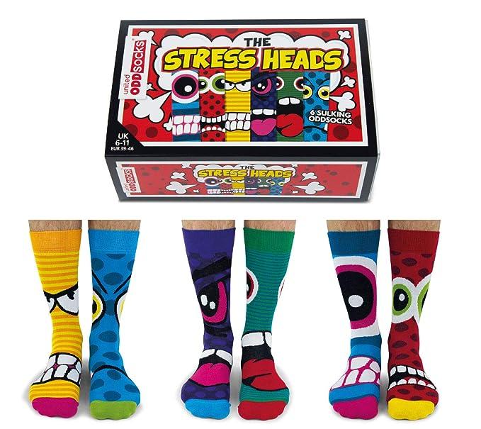 Cabezales de estrés - Caja de 6 calcetines para hombre - United Odddsocks UK 6 - 11: Amazon.es: Ropa y accesorios