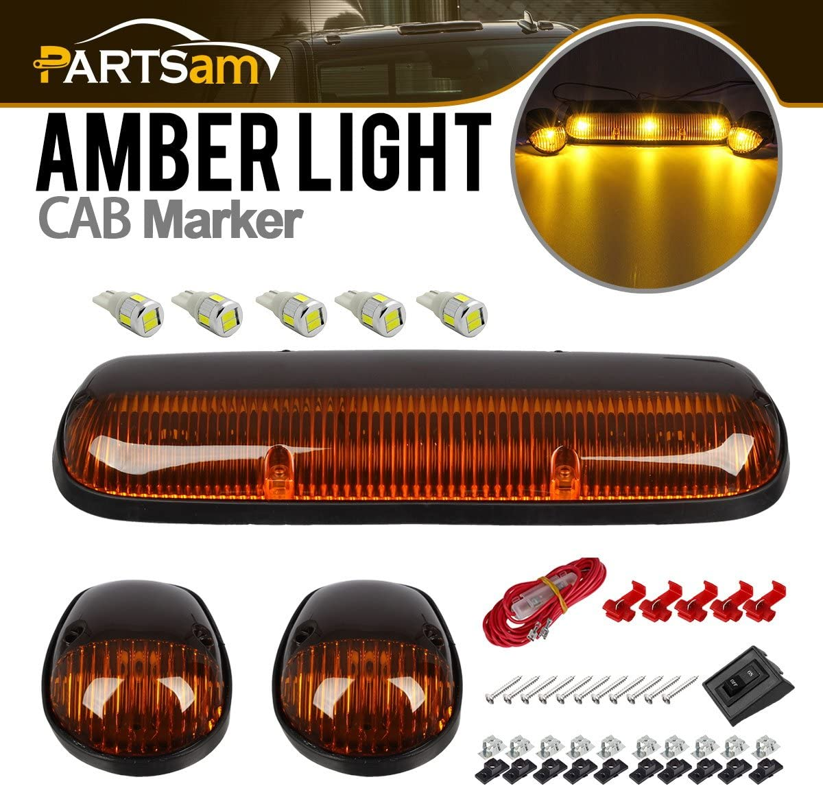Partsam 3X Clear White 30LED Cab Marker Top Roof Lights 264155CL Compatible with Chevrolet Silverado//GMC Sierra 1500 1500HD 2500 2500HD 3500 2002 2003 2004 2005 2006 2007 Pickup Trucks