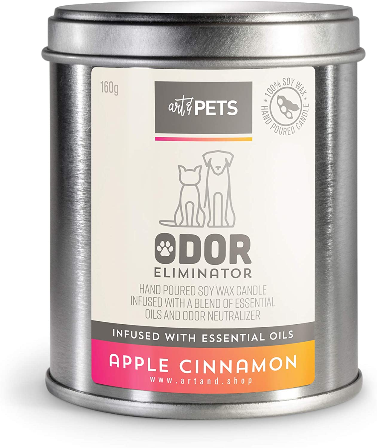 Art & Pets Pet Odor Eliminator Candle Appx 72 Hrs Burning Time | Natural Scented Soy Wax Candle | Dog Smell Eliminator Candle | Cat and Dog Odor Eliminator Candle | Pet Candle
