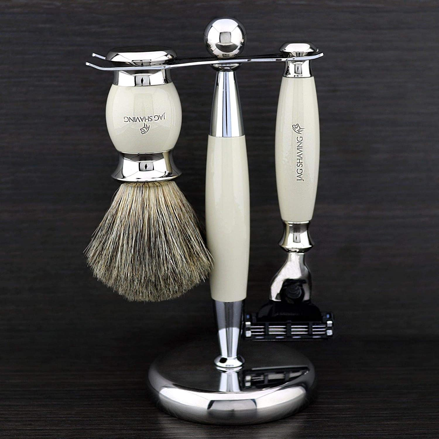 Premium Set of Super Badger Shaving Brush & Gillette Mach3 Razor + Double Shaving Stand for Razor & Brush > A Shaving & Grooming Kit by JAGSHAVING in Ivory Colour. Made in England - Perfect as a Gift this Christmas