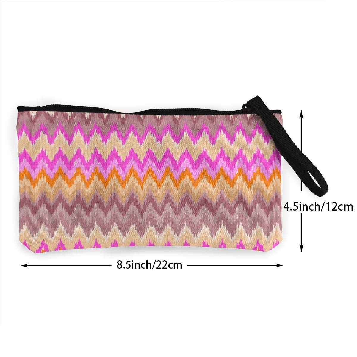 Womens Canvas Coin Purse Cellphone Clutch Purse With Wrist Strap Ripple Pink Orange Pattern Zipper Small Purse Wallets