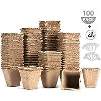 100 vasi in fibra per piantare semi Urban Sprout vasi biodegradabili 6 cm di forma rotonda