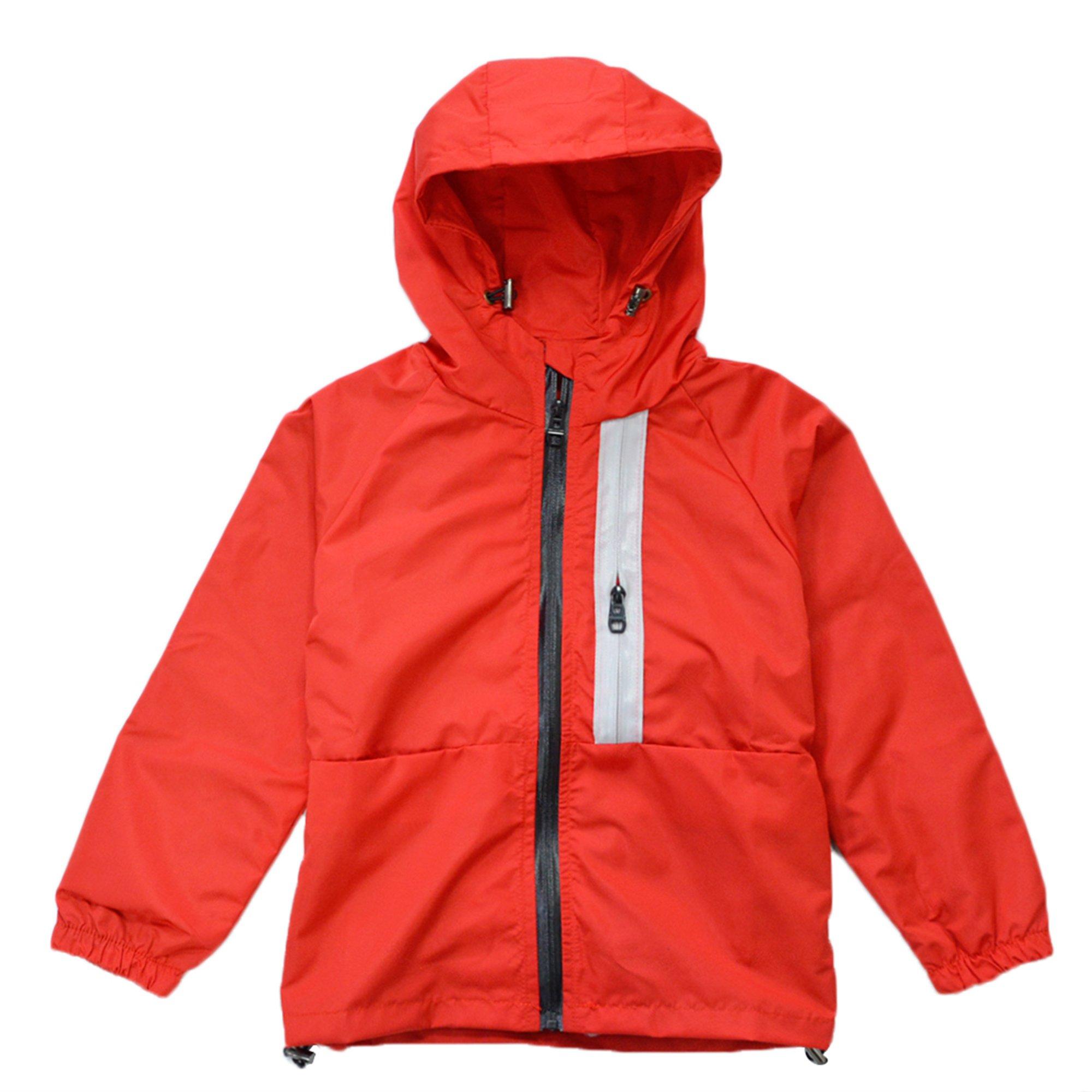 KISBINI Big Boys Kids Hoodies Rain Coat Zip Jacket Spring Dustcoat Windbreakers Red