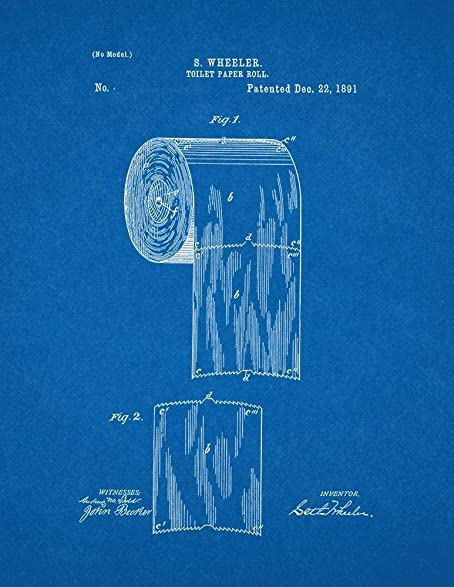 Amazon toilet paper roll patent print art poster blueprint toilet paper roll patent print art poster blueprint 85quot malvernweather Choice Image