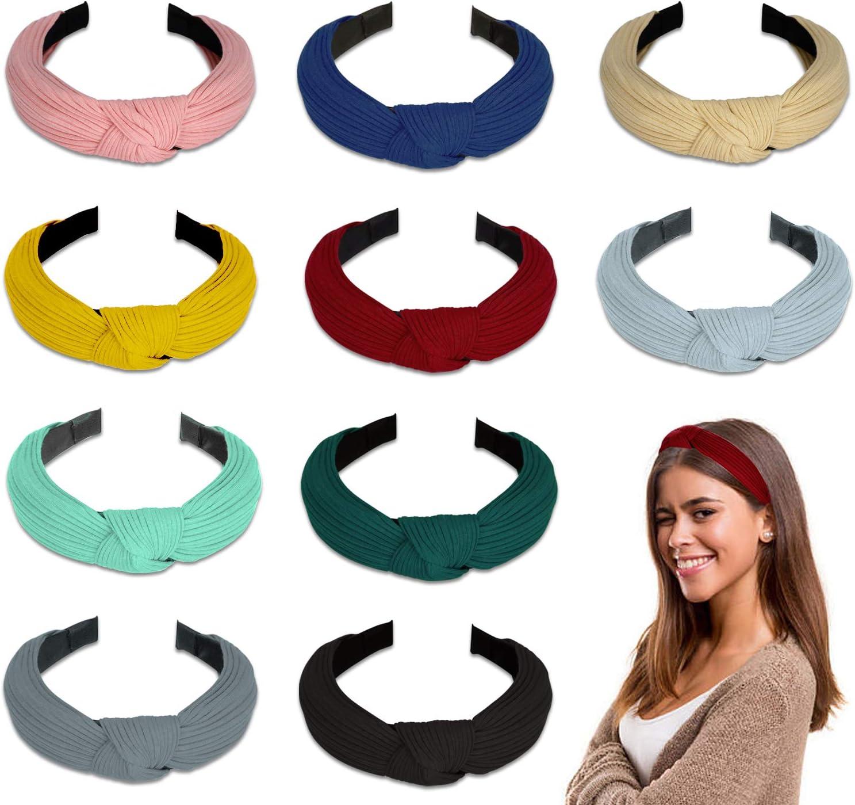 Diademas de Pelo Anchas 10 Piezas, Winpok Diademas para Mujer Elástica Turbantes Diadema de Nudo Bandas Diadema Para Mujeres 10 Colores