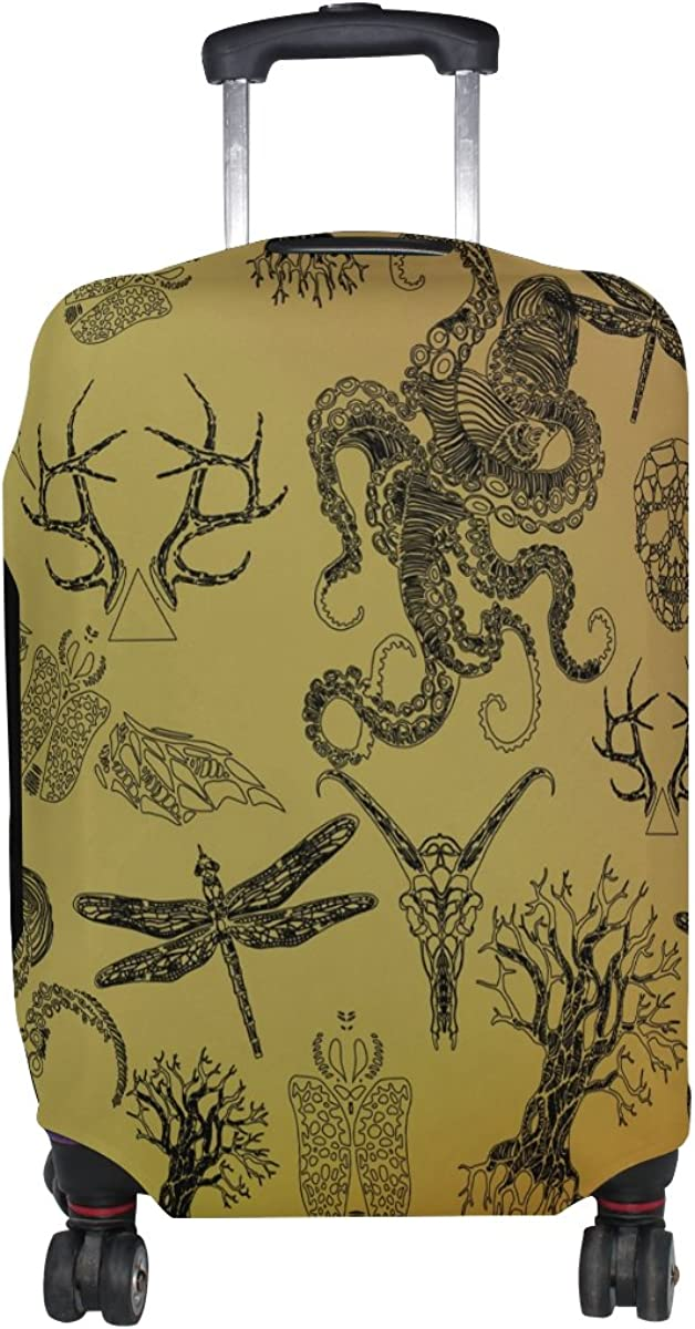 LAVOVO Gothic Octopus Skull Dragonfly Luggage Cover Suitcase Protector Carry On Covers