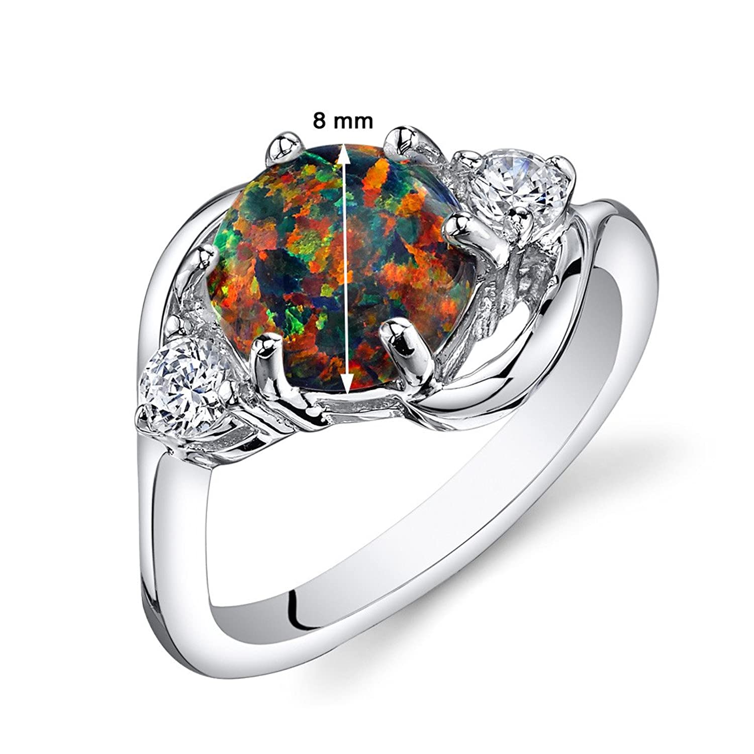 amazoncom created black opal ring sterling silver 3 stone 175 carats sizes 5 to 9 jewelry - Black Opal Wedding Rings