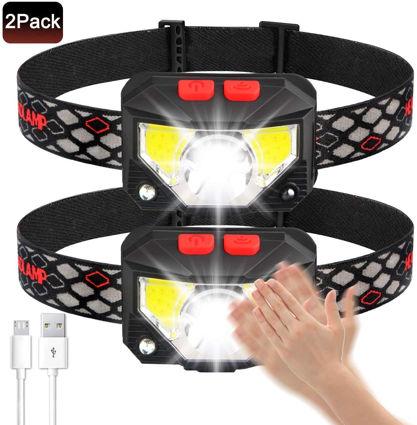 Faros Impermeables con Sensor de Movimiento para Exteriores hogar Linterna Recargable USB Ultra Brillante de 800 l/úmenes MYYYYI Linterna Frontal