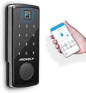 Ardwolf A70 Bluetooth Deadbolt Door Lock for Homes, Keyless Entry Smart Phone Control Fingerprint Door-Lock with Keys Keypad Auto-Lock for Bedroom Hotel Airbnb, Black