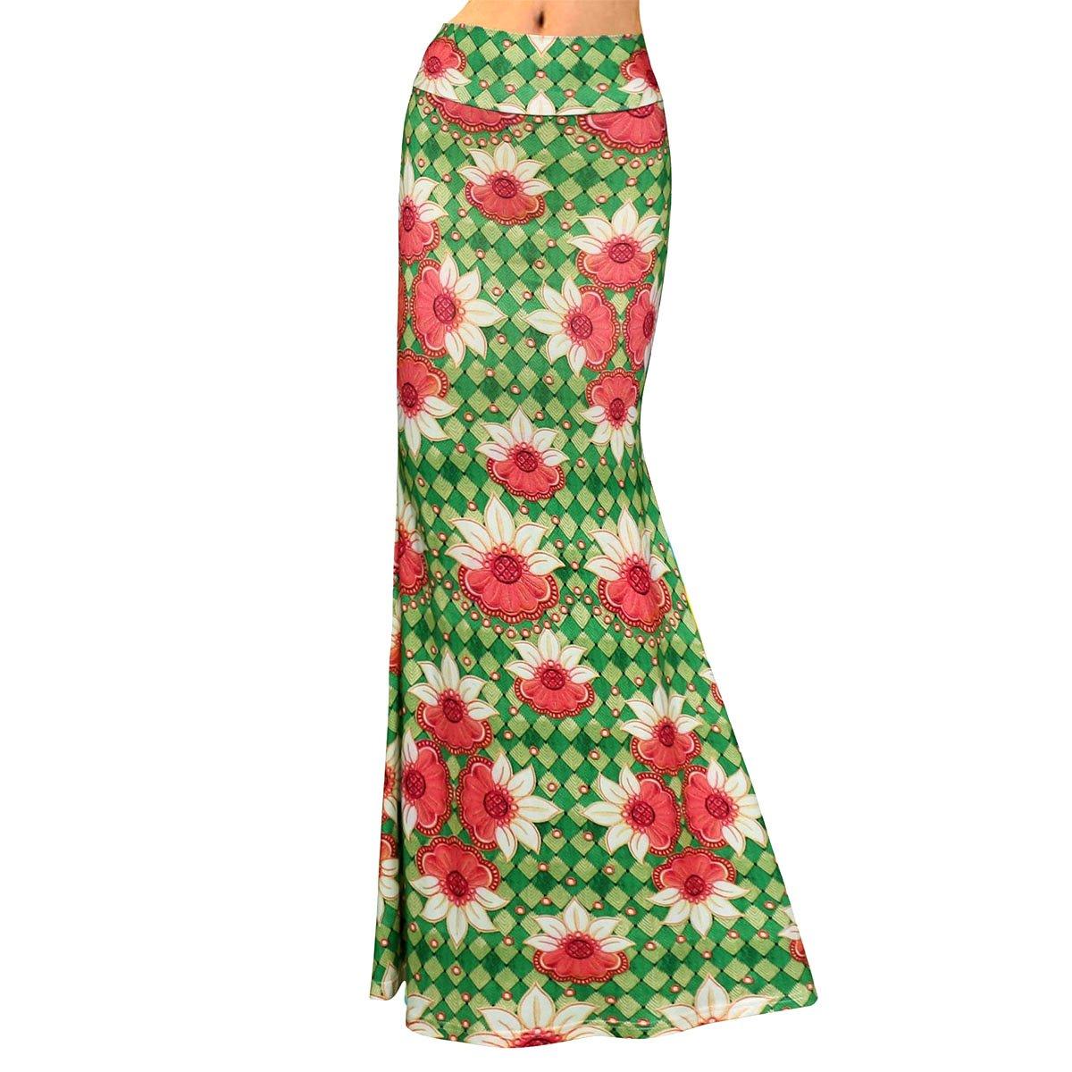 Women Floral Print Maxi Skirt High Waist Hip Package Long Skirt Summer Foldover Full Skirts for Daily Evening Party Beach Travel Green Flower L