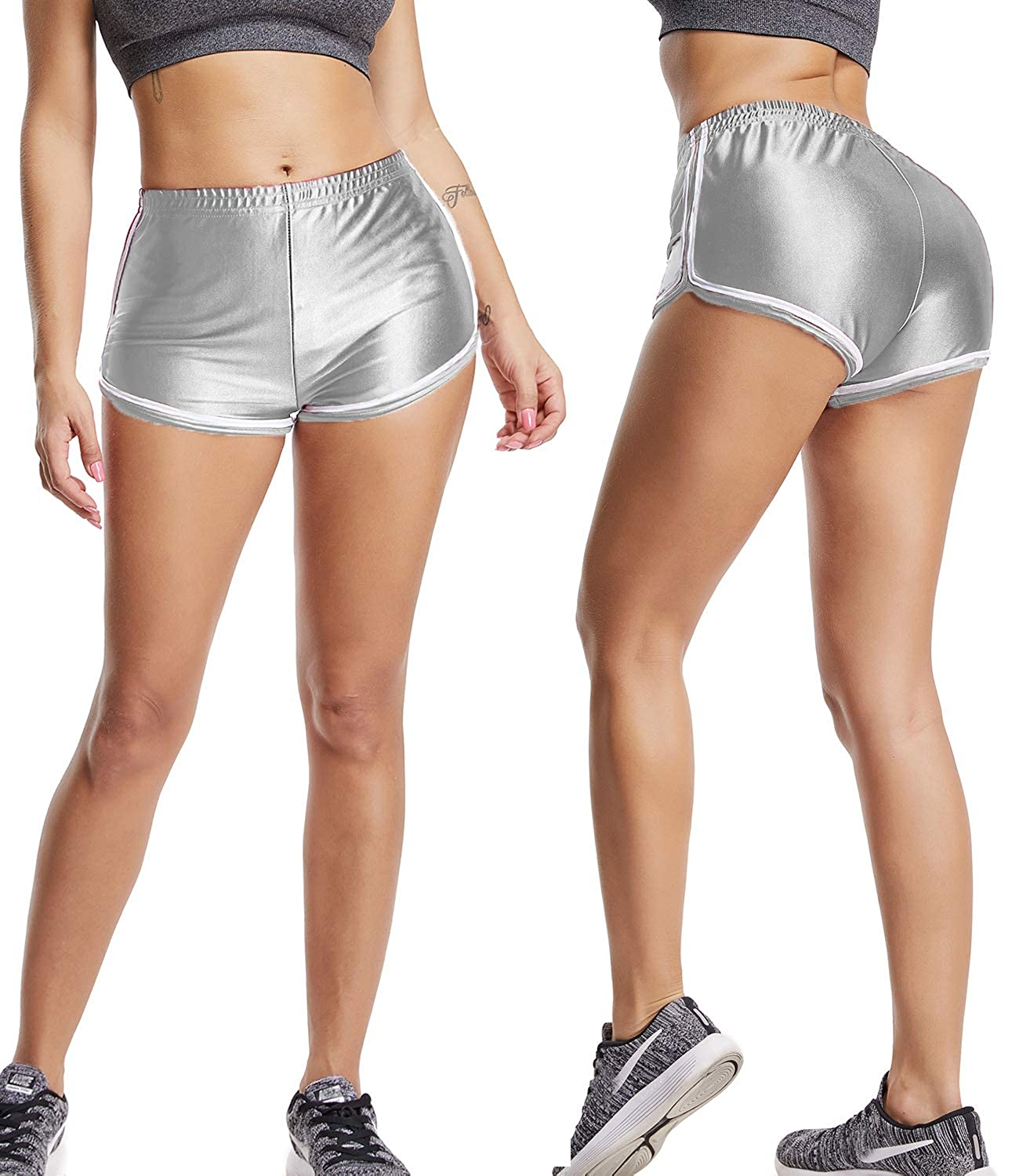 KIWI RATA Womens High Waisted Shorts Sport Fitness Gym Ruched Butt Lifting Workout Running Yoga Hot Pants