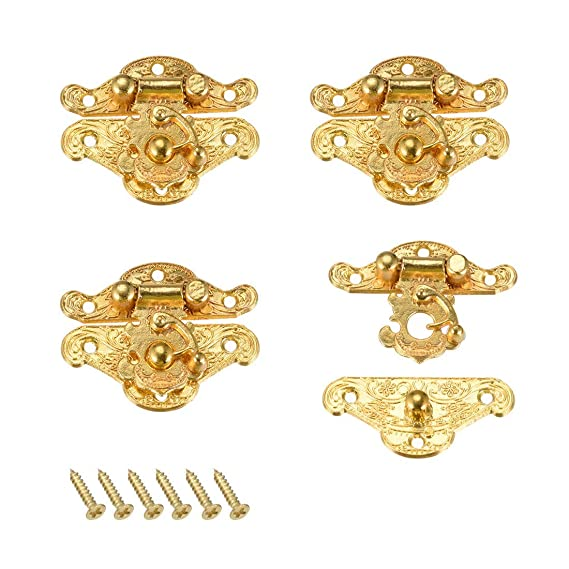 ZCHXD 4 Sets Wood Case Chest Box Rectangle Clasp Closure ...